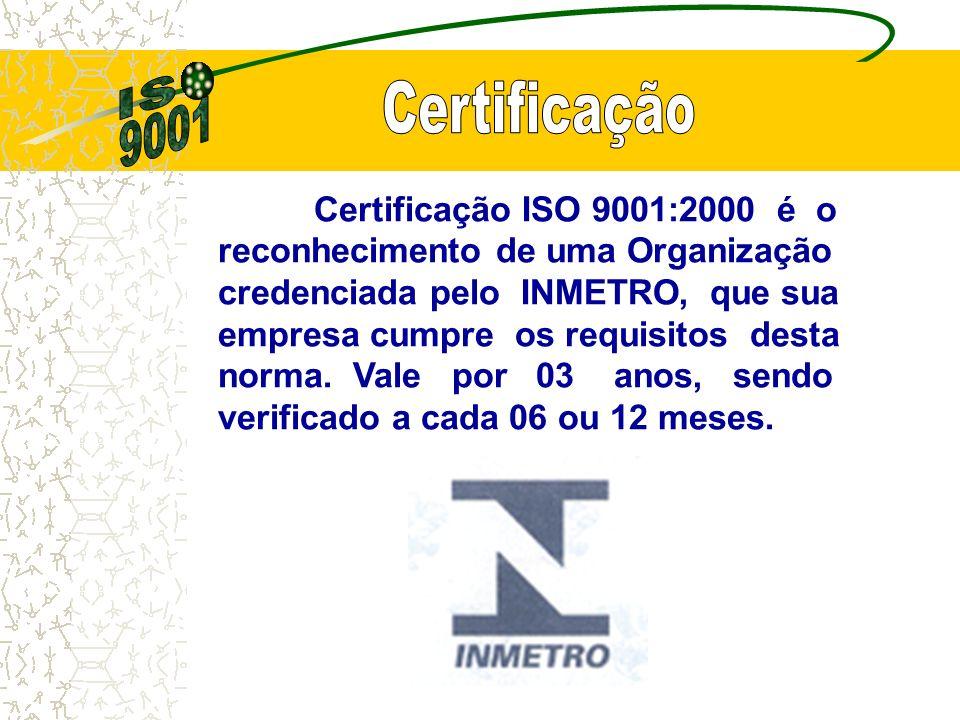 Certificação ISO 9001:2000 é o reconhecimento de uma Organização credenciada pelo INMETRO, que sua empresa cumpre os requisitos desta norma.