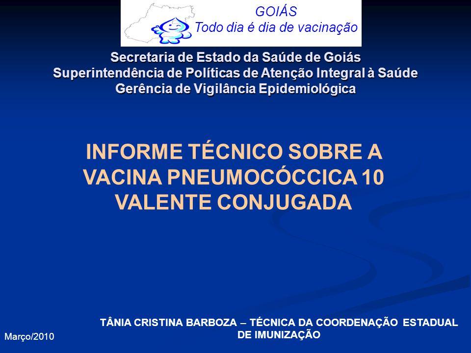 Apresentação O Ministério da Saúde, por meio do Programa Nacional de Imunizações, incluirá no calendário básico de vacinação da criança a partir de março de 2010 (para alguns Estados), a vacina pneumocócica 10-valente (conjugada) sorotipos 1, 4, 5, 6B, 7F, 9V, 14, 18C, 19F e 23F.