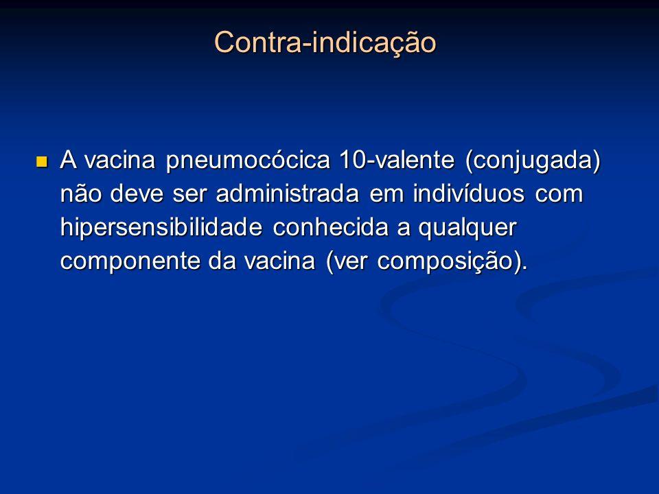 Contra-indicação A vacina pneumocócica 10-valente (conjugada) não deve ser administrada em indivíduos com hipersensibilidade conhecida a qualquer comp
