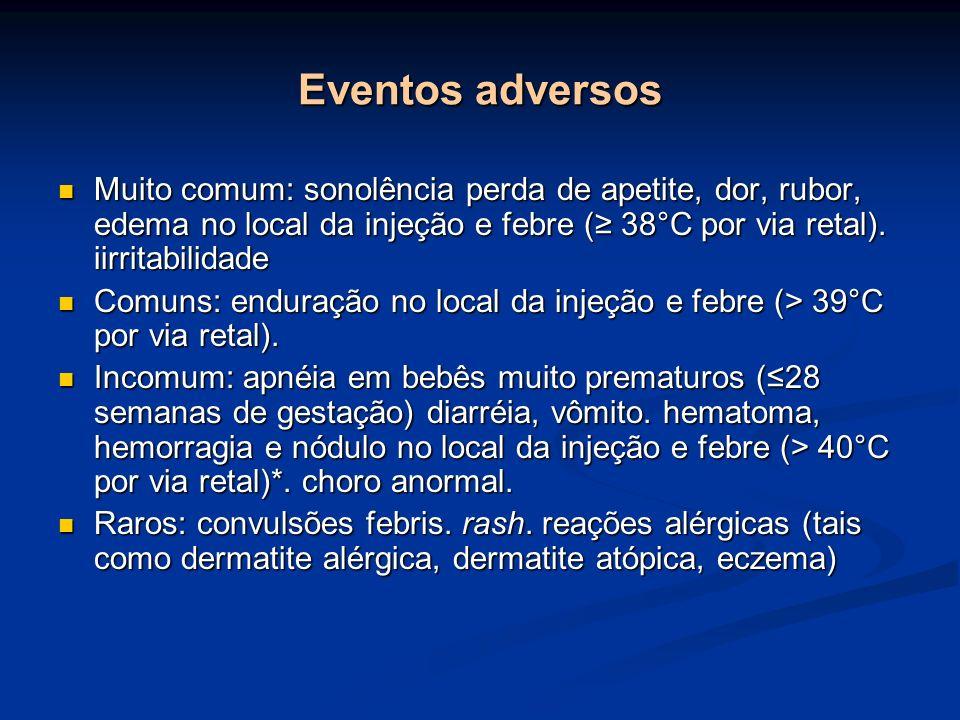 Eventos adversos Muito comum: sonolência perda de apetite, dor, rubor, edema no local da injeção e febre ( 38°C por via retal). iirritabilidade Muito
