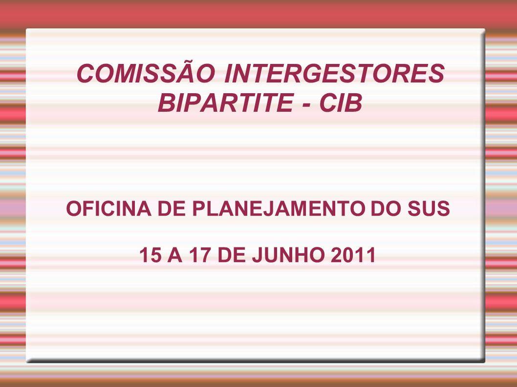 COMISSÃO INTERGESTORES BIPARTITE - CIB OFICINA DE PLANEJAMENTO DO SUS 15 A 17 DE JUNHO 2011