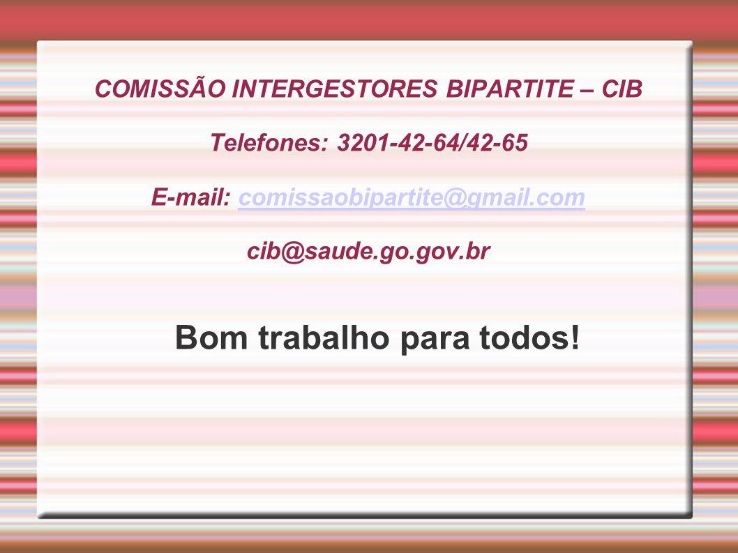 COMISSÃO INTERGESTORES BIPARTITE – CIB Telefones: 3201-42-64/42-65 E-mail: comissaobipartite@gmail.com cib@saude.go.gov.brcomissaobipartite@gmail.com