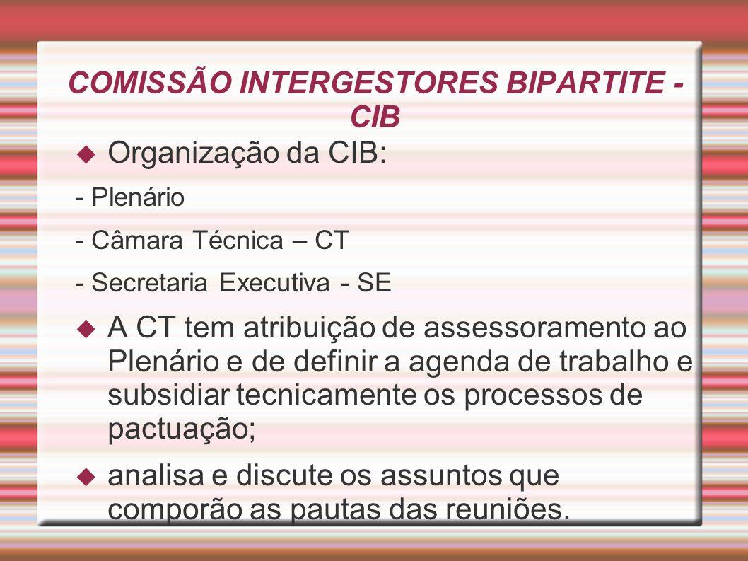COMISSÃO INTERGESTORES BIPARTITE - CIB A pauta da CIB é constituída por quatro itens: 1 – Homologações e Certificações; 2 – Discussões e Pactuações; 3 – Apresentações e Discussões; e 4 - Informes.