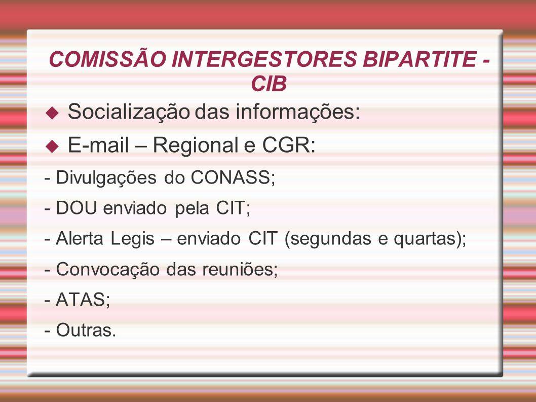 COMISSÃO INTERGESTORES BIPARTITE - CIB Socialização das informações: E-mail – Regional e CGR: - Divulgações do CONASS; - DOU enviado pela CIT; - Alert
