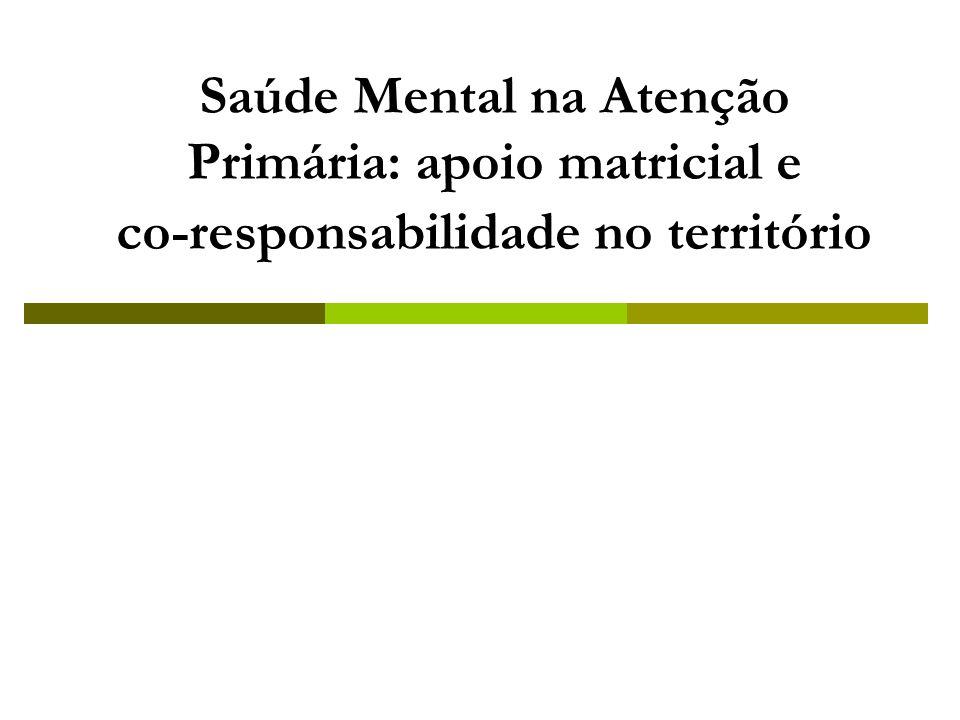 Saúde Mental na Atenção Primária: apoio matricial e co-responsabilidade no território