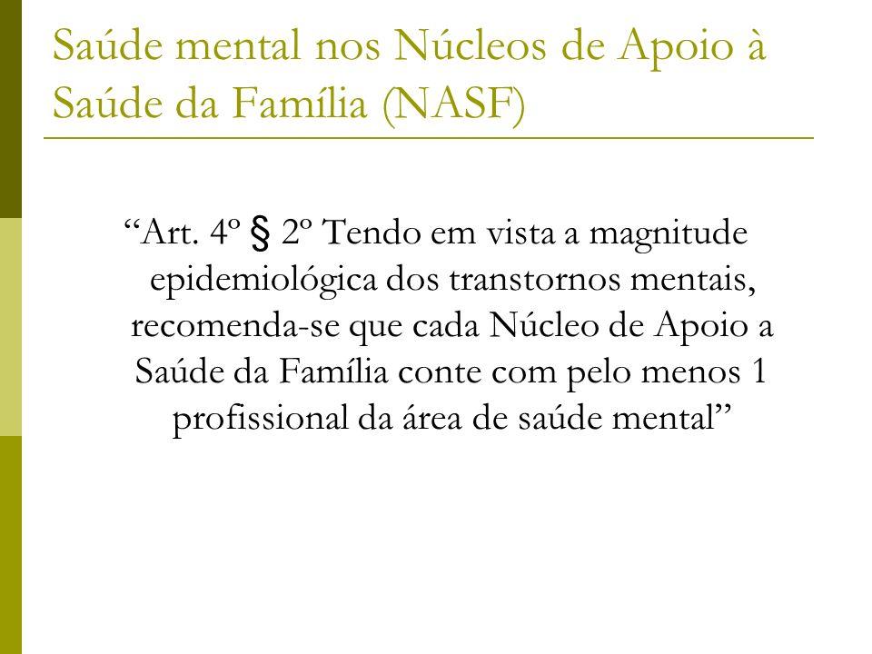 Saúde mental nos Núcleos de Apoio à Saúde da Família (NASF) Art. 4º § 2º Tendo em vista a magnitude epidemiológica dos transtornos mentais, recomenda-