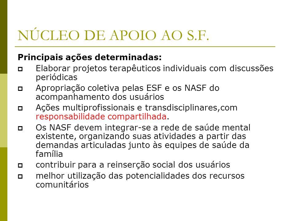 NÚCLEO DE APOIO AO S.F. Principais ações determinadas: Elaborar projetos terapêuticos individuais com discussões periódicas Apropriação coletiva pelas