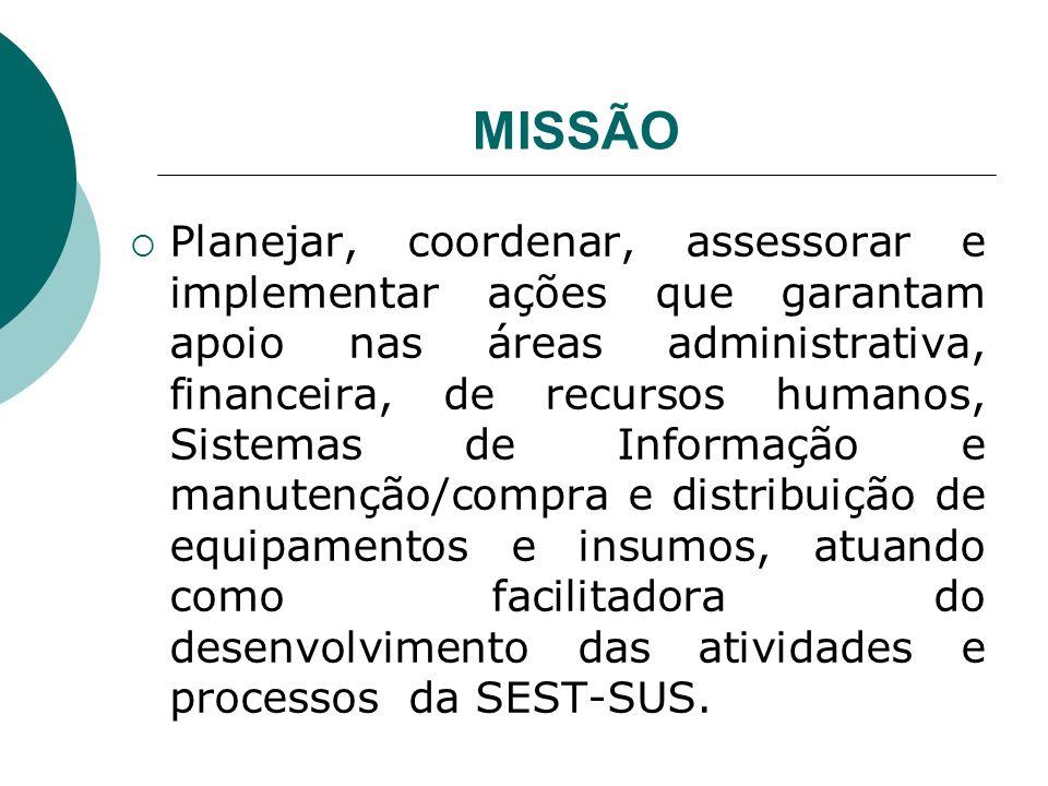 MISSÃO Planejar, coordenar, assessorar e implementar ações que garantam apoio nas áreas administrativa, financeira, de recursos humanos, Sistemas de I