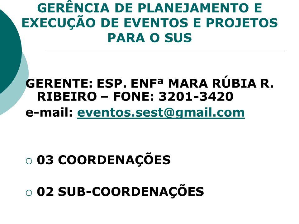 GERÊNCIA DE PLANEJAMENTO E EXECUÇÃO DE EVENTOS E PROJETOS PARA O SUS GERENTE: ESP. ENFª MARA RÚBIA R. RIBEIRO – FONE: 3201-3420 e-mail: eventos.sest@g