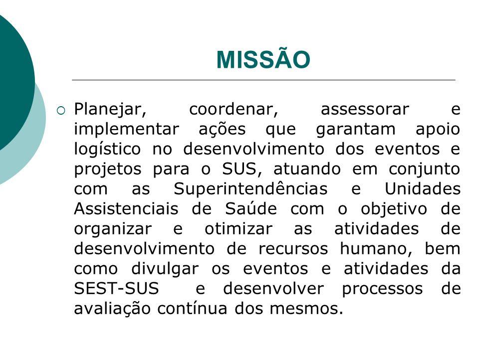 MISSÃO Planejar, coordenar, assessorar e implementar ações que garantam apoio logístico no desenvolvimento dos eventos e projetos para o SUS, atuando