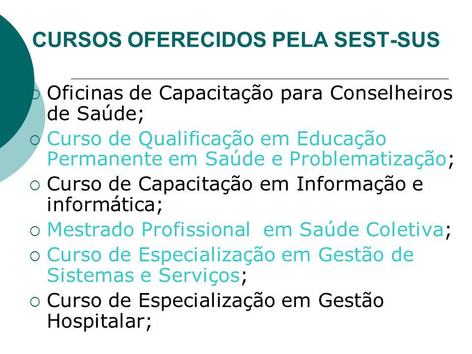 CURSOS OFERECIDOS PELA SEST-SUS Oficinas de Capacitação para Conselheiros de Saúde; Curso de Qualificação em Educação Permanente em Saúde e Problemati