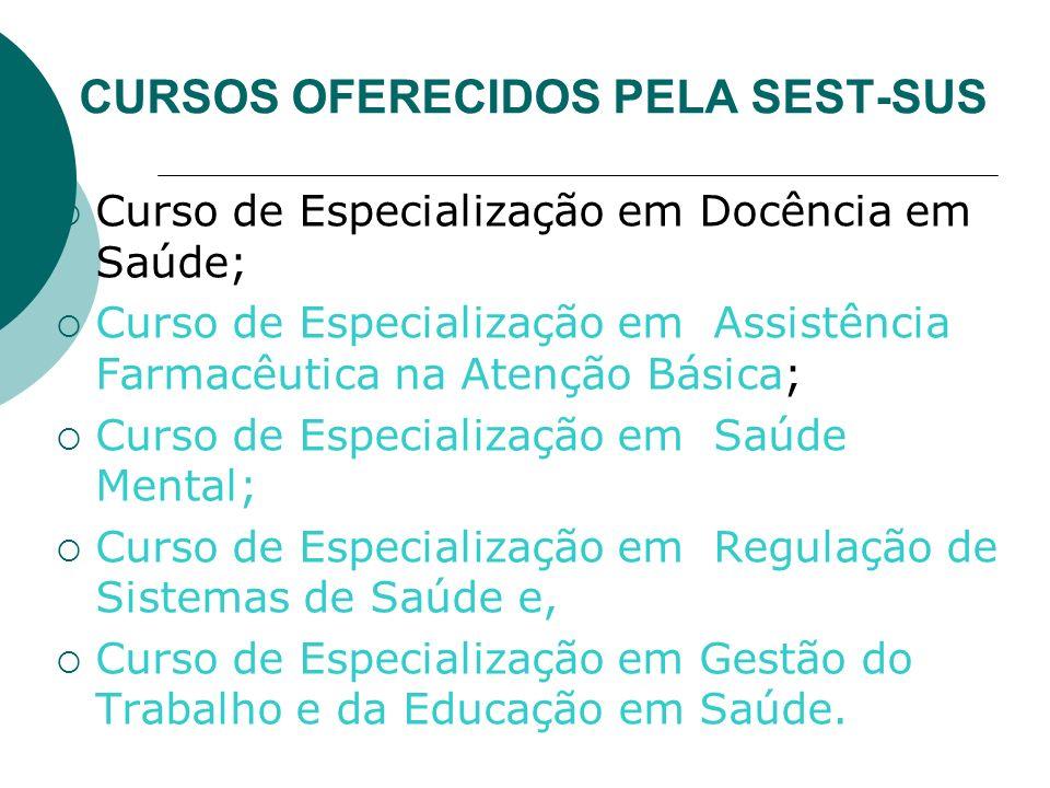 CURSOS OFERECIDOS PELA SEST-SUS Curso de Especialização em Docência em Saúde; Curso de Especialização em Assistência Farmacêutica na Atenção Básica; C