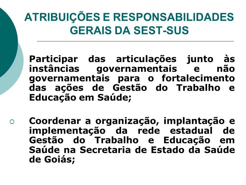 ATRIBUIÇÕES E RESPONSABILIDADES GERAIS DA SEST-SUS Participar das articulações junto às instâncias governamentais e não governamentais para o fortalec