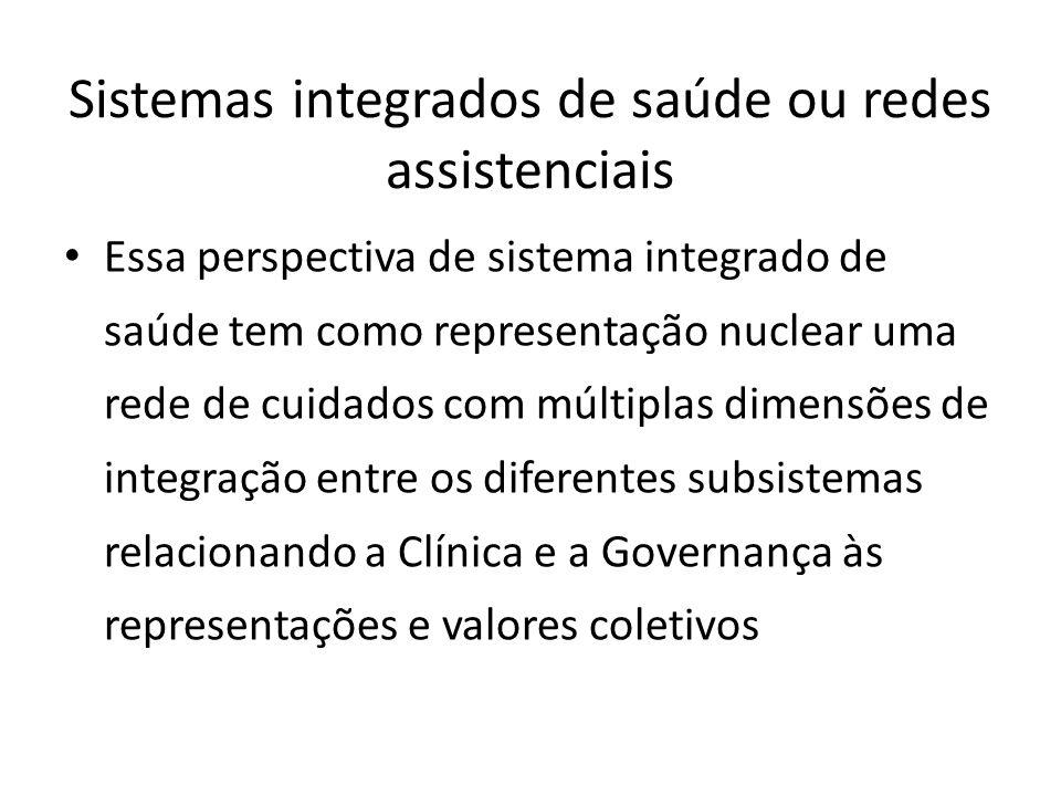 Essa perspectiva de sistema integrado de saúde tem como representação nuclear uma rede de cuidados com múltiplas dimensões de integração entre os dife