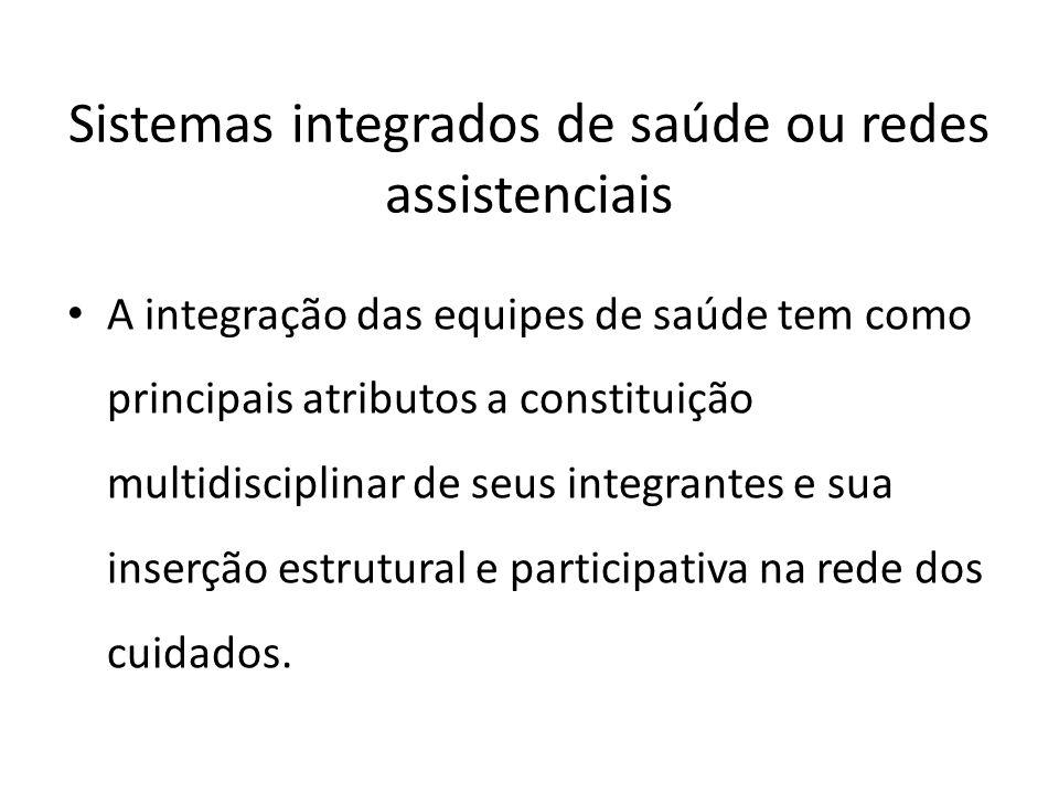 A integração das equipes de saúde tem como principais atributos a constituição multidisciplinar de seus integrantes e sua inserção estrutural e partic