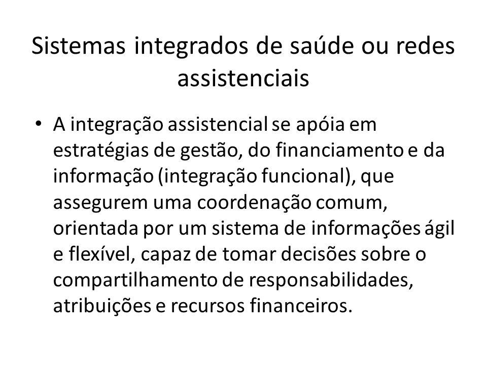 A integração assistencial se apóia em estratégias de gestão, do financiamento e da informação (integração funcional), que assegurem uma coordenação co