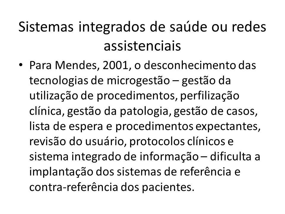Para Mendes, 2001, o desconhecimento das tecnologias de microgestão – gestão da utilização de procedimentos, perfilização clínica, gestão da patologia