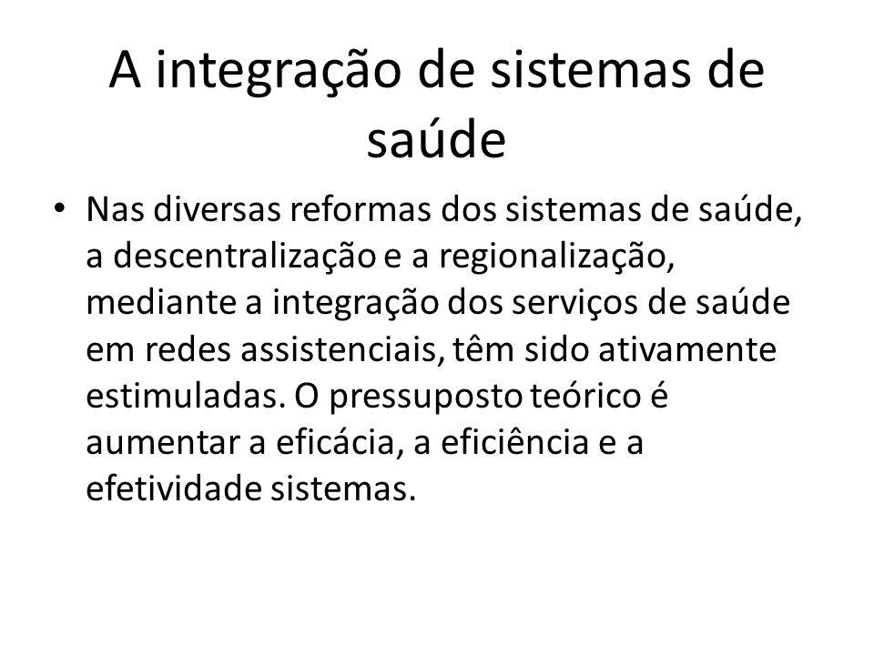 A integração de sistemas de saúde Nas diversas reformas dos sistemas de saúde, a descentralização e a regionalização, mediante a integração dos serviç