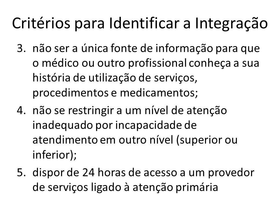Critérios para Identificar a Integração 3.não ser a única fonte de informação para que o médico ou outro profissional conheça a sua história de utiliz