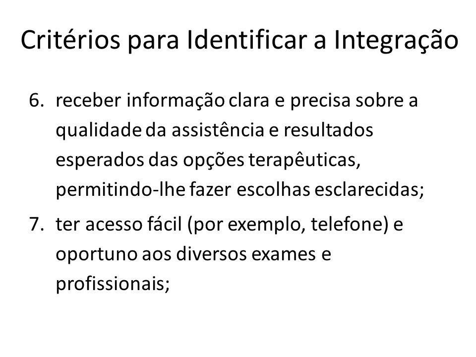 Critérios para Identificar a Integração 6.receber informação clara e precisa sobre a qualidade da assistência e resultados esperados das opções terapê
