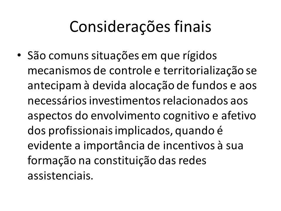 Considerações finais São comuns situações em que rígidos mecanismos de controle e territorialização se antecipam à devida alocação de fundos e aos nec