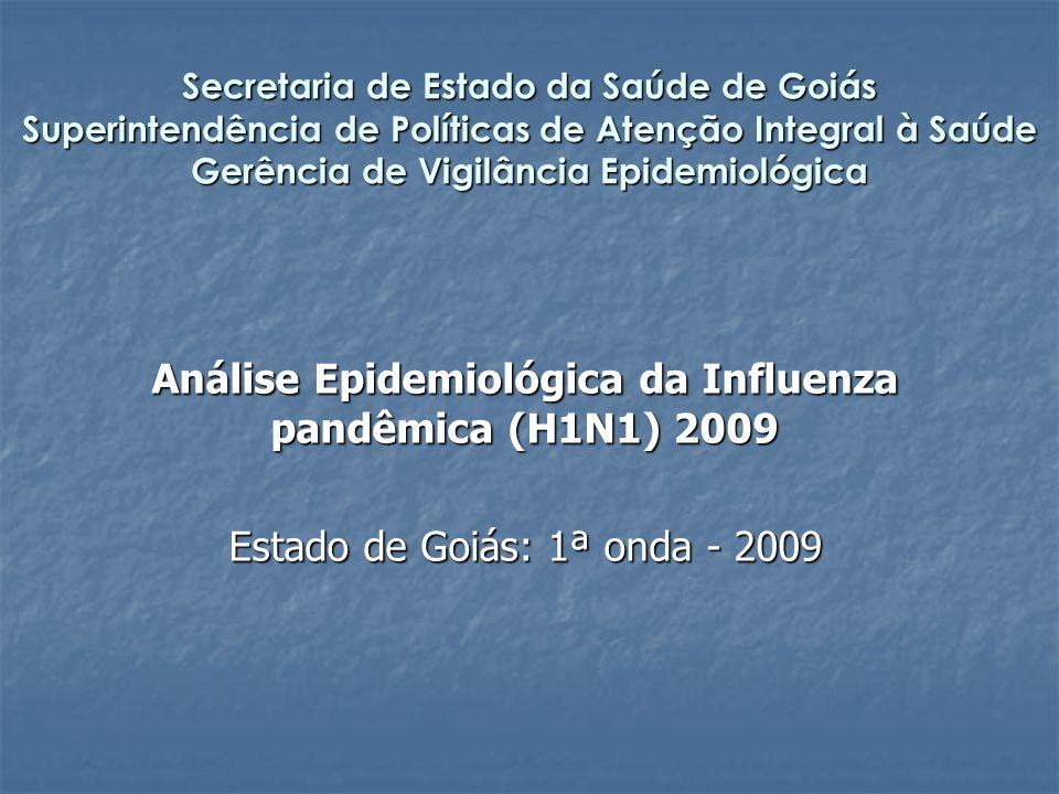Secretaria de Estado da Saúde de Goiás Superintendência de Políticas de Atenção Integral à Saúde Gerência de Vigilância Epidemiológica Análise Epidemiológica da Influenza pandêmica (H1N1) 2009 Estado de Goiás: 1ª onda - 2009