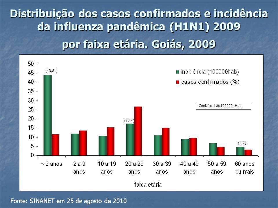 Distribuição dos casos confirmados e incidência da influenza pandêmica (H1N1) 2009 por faixa etária.