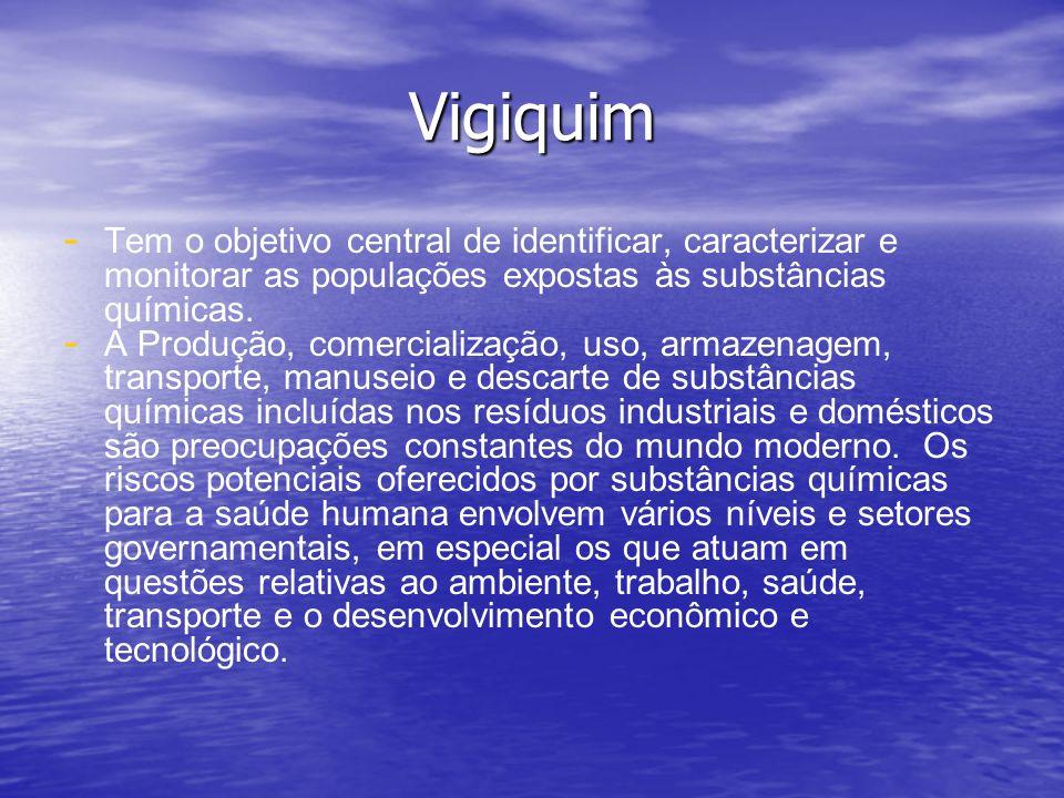 Vigiquim - - Tem o objetivo central de identificar, caracterizar e monitorar as populações expostas às substâncias químicas. - - A Produção, comercial