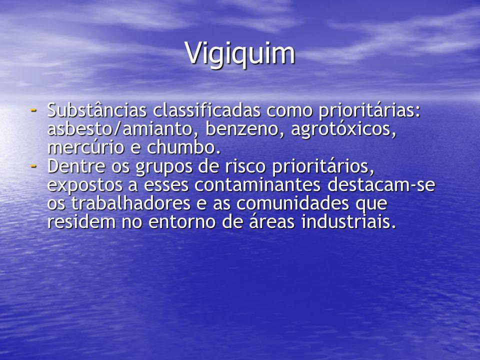 Vigiquim - Substâncias classificadas como prioritárias: asbesto/amianto, benzeno, agrotóxicos, mercúrio e chumbo. - Dentre os grupos de risco prioritá