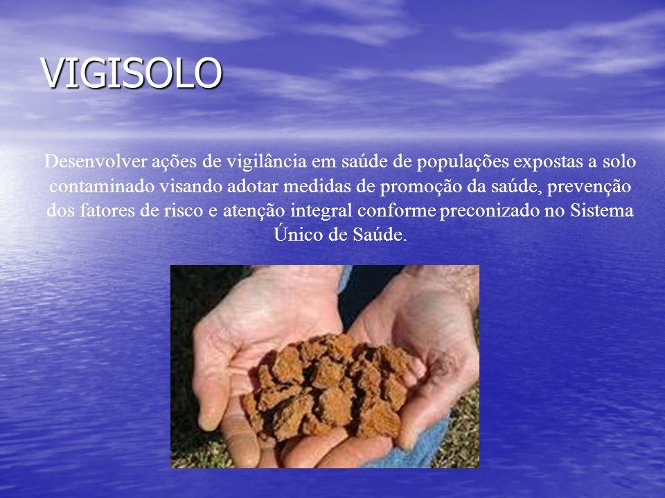 VIGISOLO Desenvolver ações de vigilância em saúde de populações expostas a solo contaminado visando adotar medidas de promoção da saúde, prevenção dos