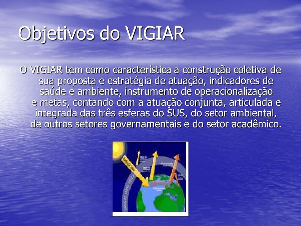 Objetivos do VIGIAR O VIGIAR tem como característica a construção coletiva de sua proposta e estratégia de atuação, indicadores de saúde e ambiente, i