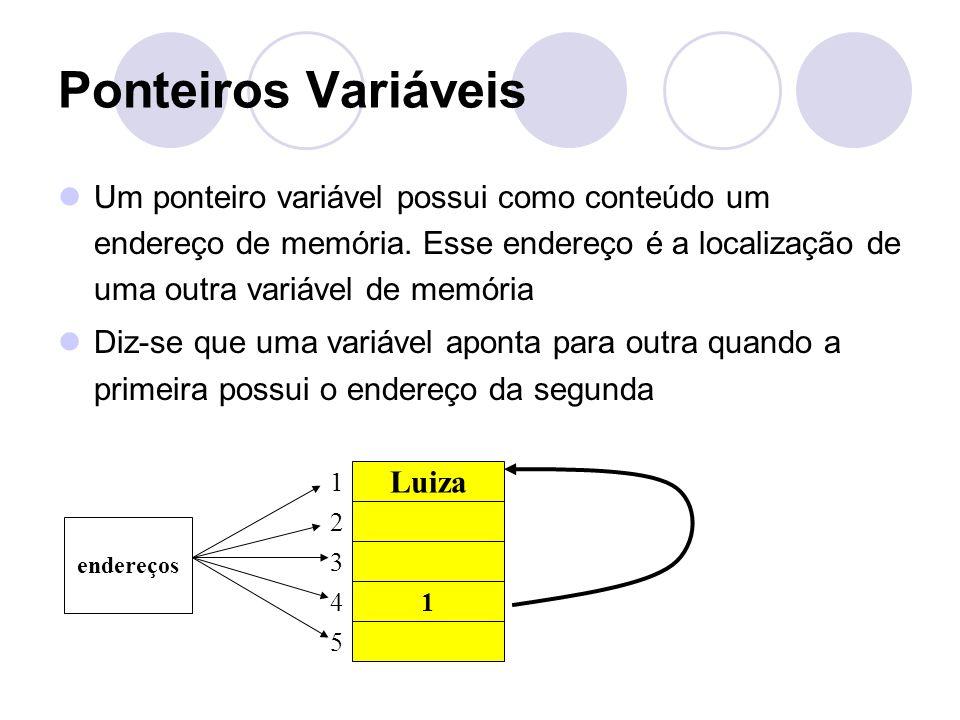 Ponteiros Variáveis Um ponteiro variável possui como conteúdo um endereço de memória. Esse endereço é a localização de uma outra variável de memória D