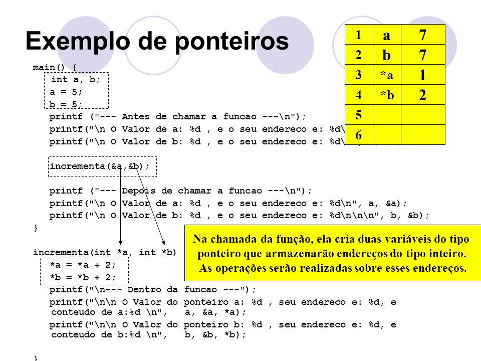 Exemplo de ponteiros main() { int a, b; a = 5; b = 5; printf (
