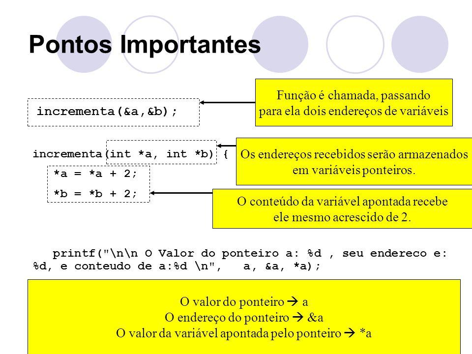 Pontos Importantes incrementa(&a,&b); incrementa(int *a, int *b) { *a = *a + 2; *b = *b + 2; printf(