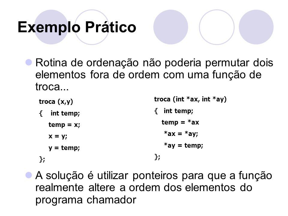 Exemplo Prático Rotina de ordenação não poderia permutar dois elementos fora de ordem com uma função de troca... A solução é utilizar ponteiros para q