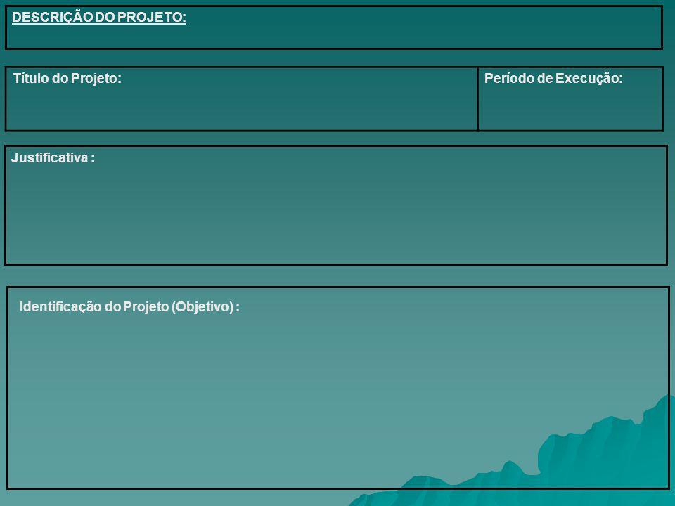 DESCRIÇÃO DO PROJETO: Título do Projeto: Período de Execução: Justificativa : Identificação do Projeto (Objetivo) :