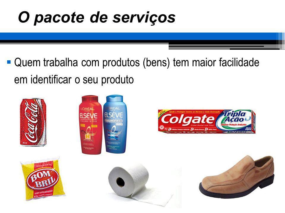 O pacote de serviços Quem trabalha com produtos (bens) tem maior facilidade em identificar o seu produto