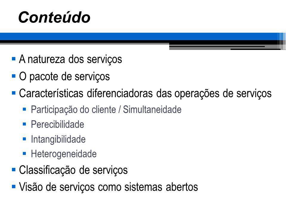 Conteúdo A natureza dos serviços O pacote de serviços Características diferenciadoras das operações de serviços Participação do cliente / Simultaneida
