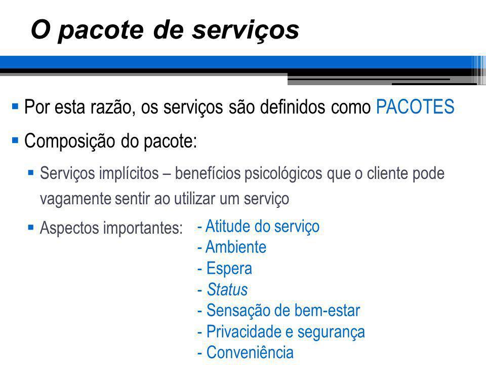 O pacote de serviços Por esta razão, os serviços são definidos como PACOTES Composição do pacote: Serviços implícitos – benefícios psicológicos que o