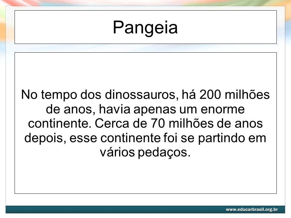 Pangeia No tempo dos dinossauros, há 200 milhões de anos, havia apenas um enorme continente.
