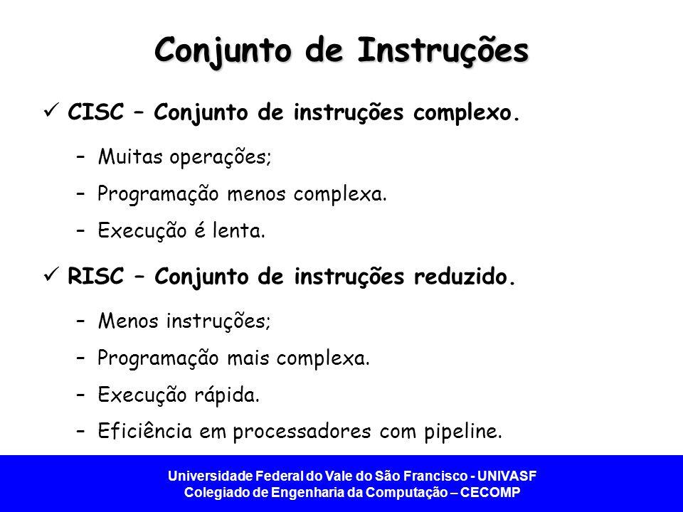 Universidade Federal do Vale do São Francisco - UNIVASF Colegiado de Engenharia da Computação – CECOMP Conjunto de Instruções CISC – Conjunto de instr