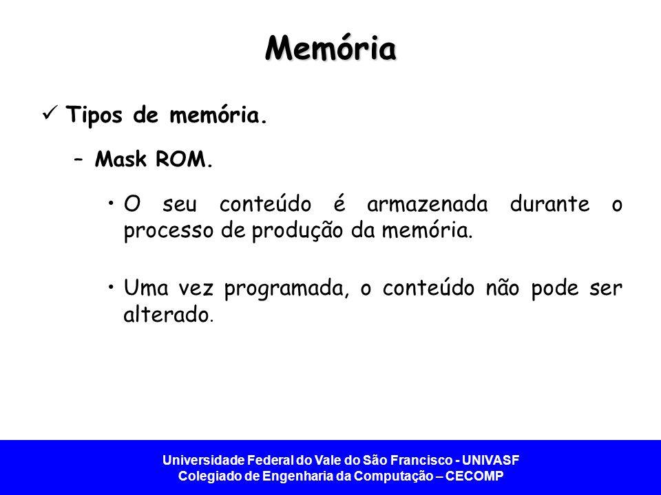 Universidade Federal do Vale do São Francisco - UNIVASF Colegiado de Engenharia da Computação – CECOMP Memória Tipos de memória. –Mask ROM. O seu cont