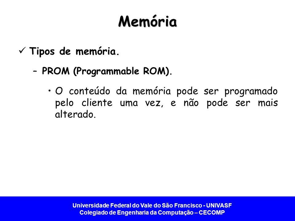 Universidade Federal do Vale do São Francisco - UNIVASF Colegiado de Engenharia da Computação – CECOMP Memória Tipos de memória. –PROM (Programmable R