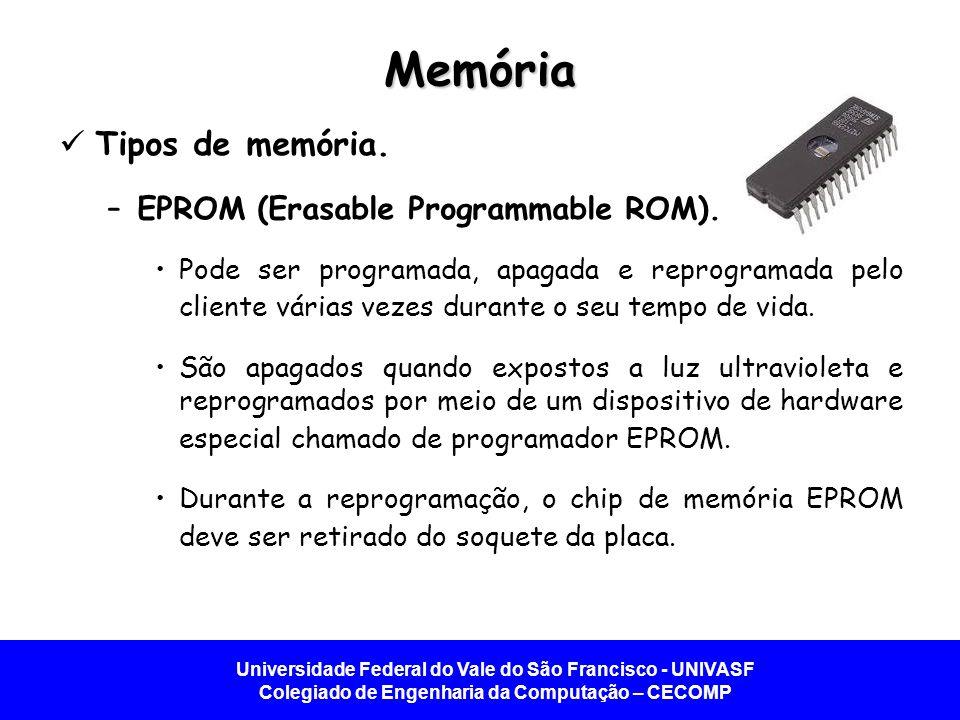 Universidade Federal do Vale do São Francisco - UNIVASF Colegiado de Engenharia da Computação – CECOMP Memória Tipos de memória. –EPROM (Erasable Prog