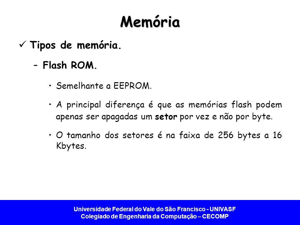 Universidade Federal do Vale do São Francisco - UNIVASF Colegiado de Engenharia da Computação – CECOMP Memória Tipos de memória. –Flash ROM. Semelhant