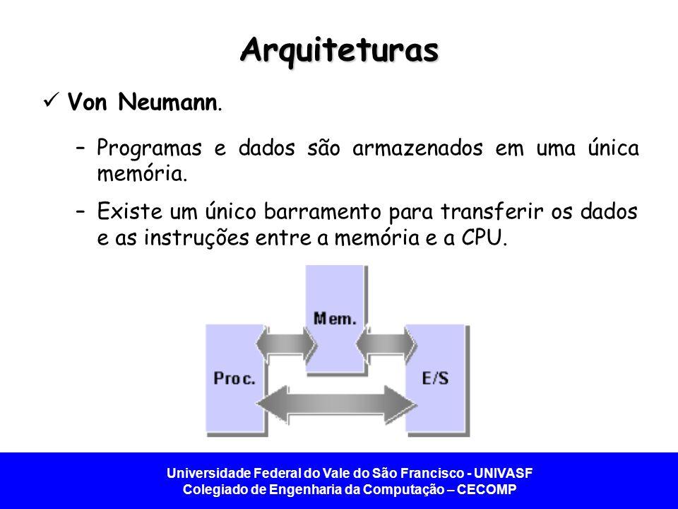 Universidade Federal do Vale do São Francisco - UNIVASF Colegiado de Engenharia da Computação – CECOMP Arquiteturas Von Neumann. –Programas e dados sã