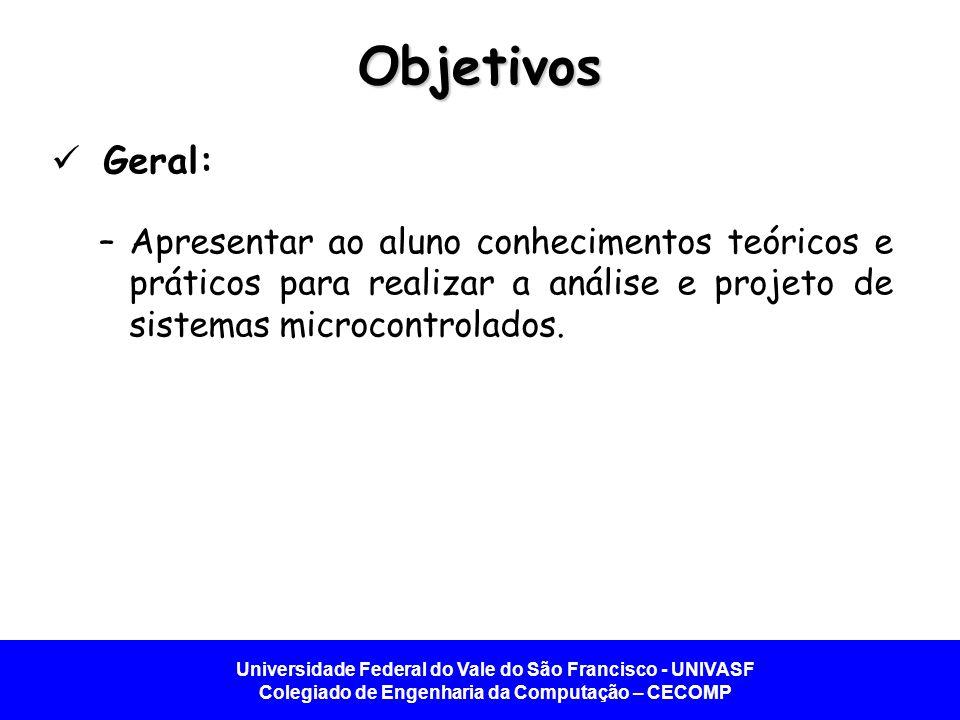 Universidade Federal do Vale do São Francisco - UNIVASF Colegiado de Engenharia da Computação – CECOMP Introdução aos Sistemas Microcontrolados
