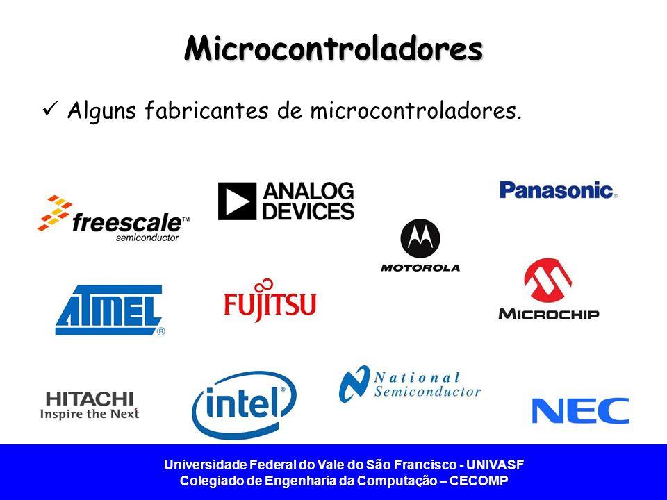 Universidade Federal do Vale do São Francisco - UNIVASF Colegiado de Engenharia da Computação – CECOMP Microcontroladores Alguns fabricantes de microc