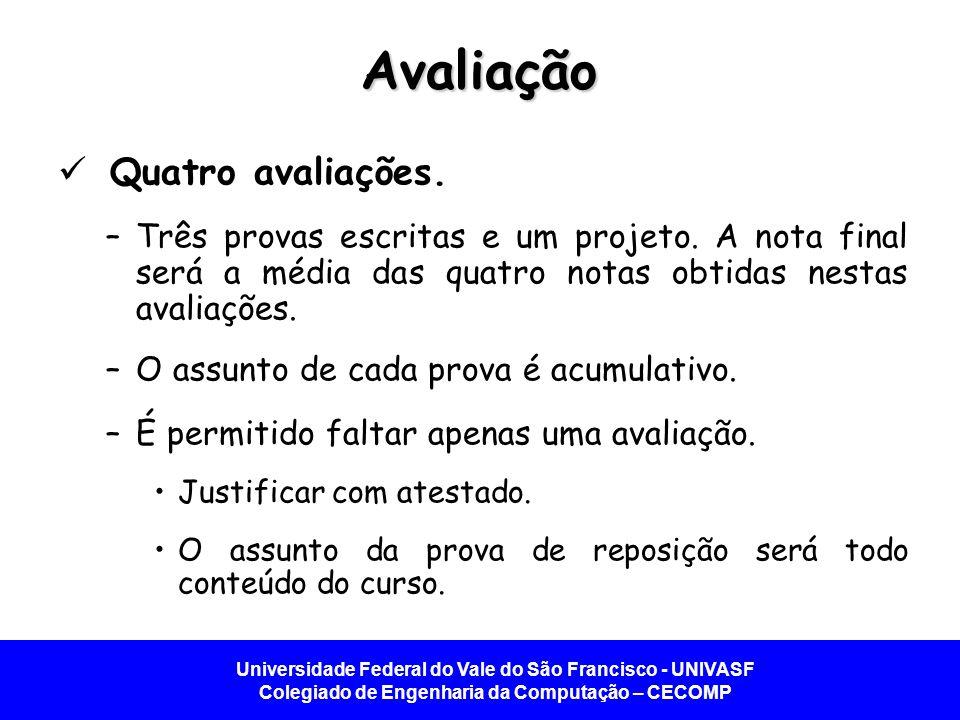 Universidade Federal do Vale do São Francisco - UNIVASF Colegiado de Engenharia da Computação – CECOMP Calendário 2013.2 29/10Aula 1 31/10Aula 2 05/11Aula 3 07/11Aula 4 12/11Aula 5 14/11Aula 6 19/11Aula 7 21/11Scientex 26/11Prova 1 28/11Aula 9 03/12Aula 10 05/12Aula 11 10/12Aula 12 12/12Aula 13 14/01Aula 14 16/01Prova 2 21/01Aula 16 23/01Aula 17 28/01Aula 18 30/01Aula 19 04/02Prova 3 06/02Projeto 11/02Projeto 13/02Projeto 18/02Projeto 20/02Projeto 25/02Projeto 27/02Prova 4 04/03Feriado 06/03Rep.