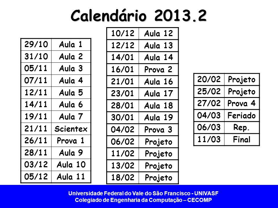 Universidade Federal do Vale do São Francisco - UNIVASF Colegiado de Engenharia da Computação – CECOMP Calendário 2013.2 29/10Aula 1 31/10Aula 2 05/11